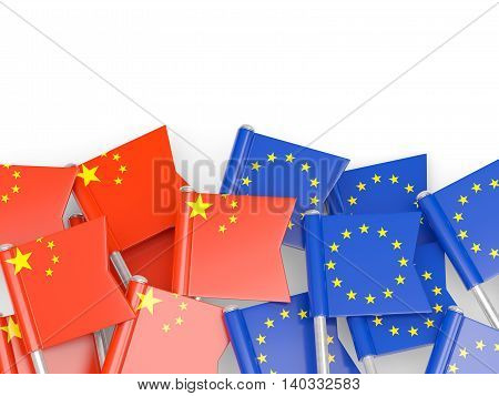 Flags Of China And Eu Isolated On White