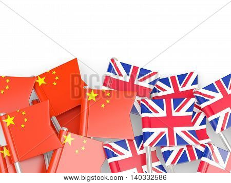 Flags Of China And Uk Isolated On White