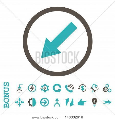 Down-Left Rounded Arrow vector bicolor icon. Image style is a flat pictogram symbol, grey and cyan colors, white background.