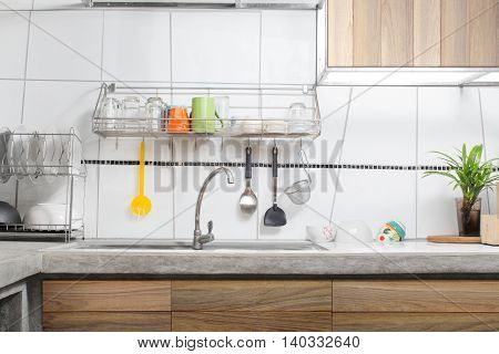 white kitchen sink decorated loft interior background