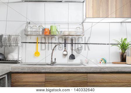 white kitchen sink decorated loft interior background