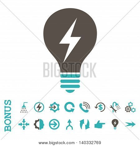 Electric Bulb vector bicolor icon. Image style is a flat iconic symbol, grey and cyan colors, white background.
