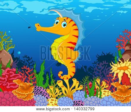 funny seahorse cartoon with beauty sea life background