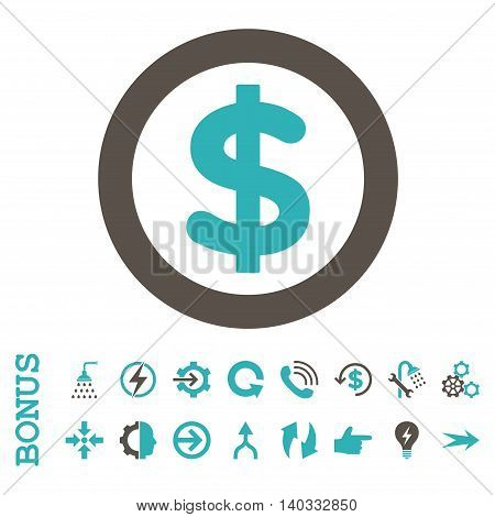 Finance vector bicolor icon. Image style is a flat iconic symbol, grey and cyan colors, white background.