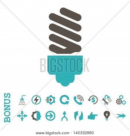 Fluorescent Bulb vector bicolor icon. Image style is a flat iconic symbol, grey and cyan colors, white background.