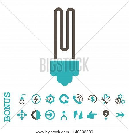 Fluorescent Bulb vector bicolor icon. Image style is a flat pictogram symbol, grey and cyan colors, white background.