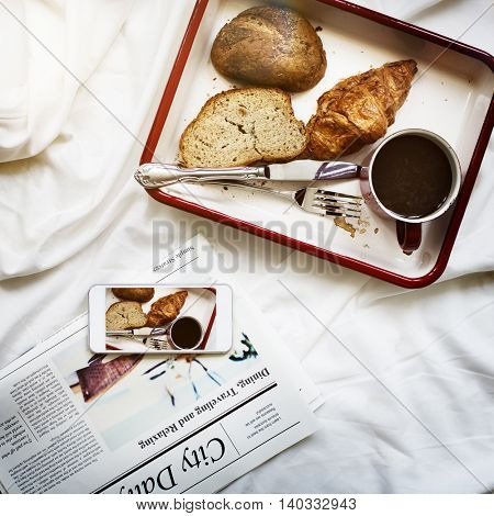 Dining Traveling Relaxing Bread Coffee Connect Concept