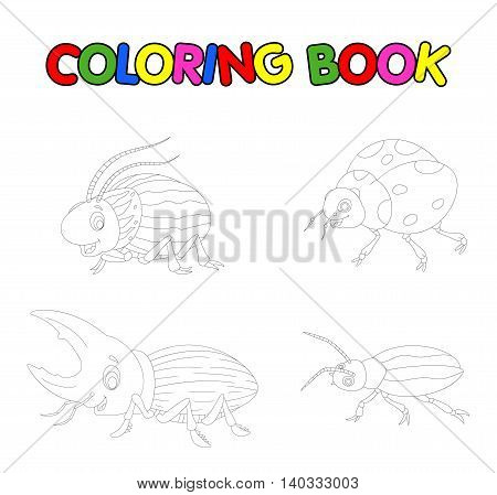 coloring book with collection of beetle cartoon