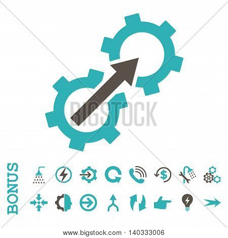 Gear Integration vector bicolor icon. Image style is a flat pictogram symbol, grey and cyan colors, white background.