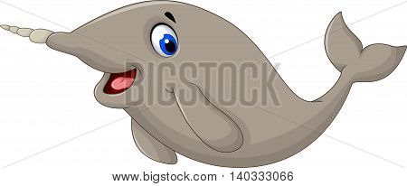 Narwhal Whale cartoon posing for you design