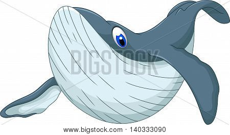 cute whale swimming cartoon for you design