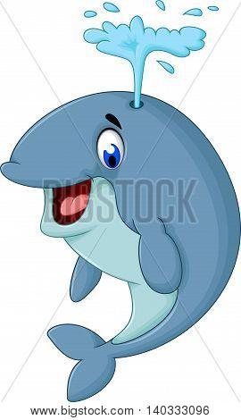 cute whale cartoon close up for you design