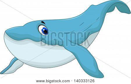 cute blue whale cartoon for you design