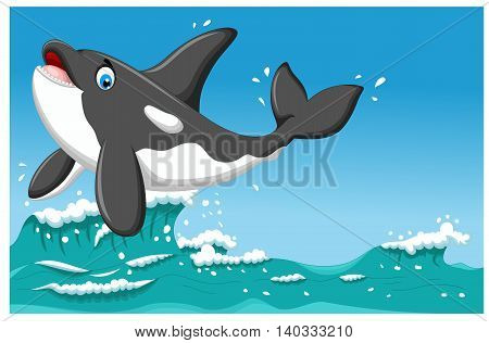 cute killer whale cartoon jumping with sea life background
