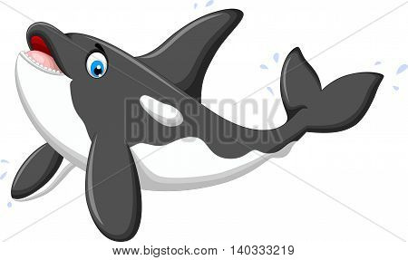 cute killer whale cartoon jumping for you design