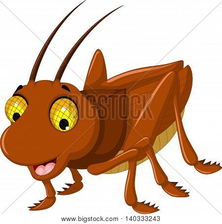 cute brown grasshopper cartoon for you design