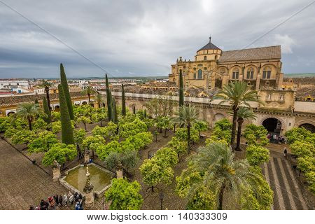 Cordoba, Andalusia, Spain - April 20, 2016: aerial view and skyline from Tower Minaret of the Great Mosque of Cordoba, now St Mary's Cathedral.