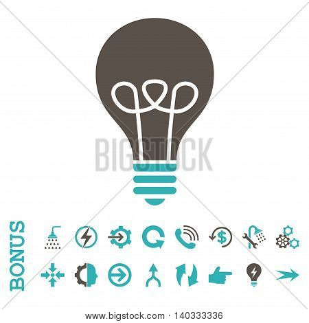 Lamp Bulb vector bicolor icon. Image style is a flat iconic symbol, grey and cyan colors, white background.