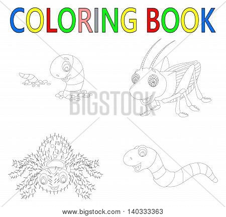 coloring book with collection of  insect cartoon