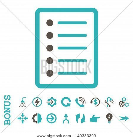 List Page vector bicolor icon. Image style is a flat pictogram symbol, grey and cyan colors, white background.