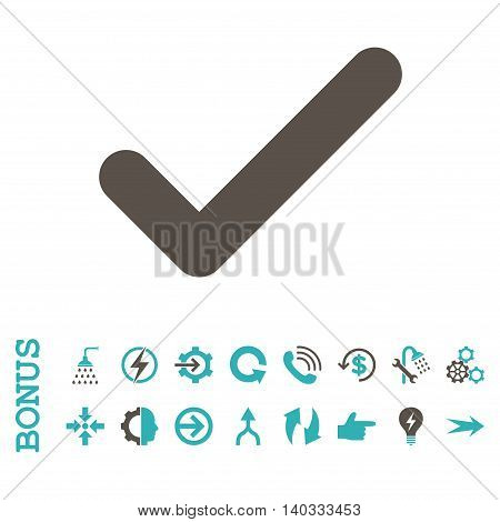 Ok vector bicolor icon. Image style is a flat iconic symbol, grey and cyan colors, white background.