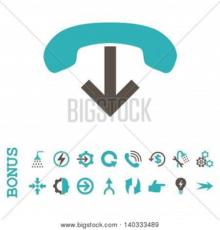Phone Hang Up vector bicolor icon. Image style is a flat iconic symbol, grey and cyan colors, white background.