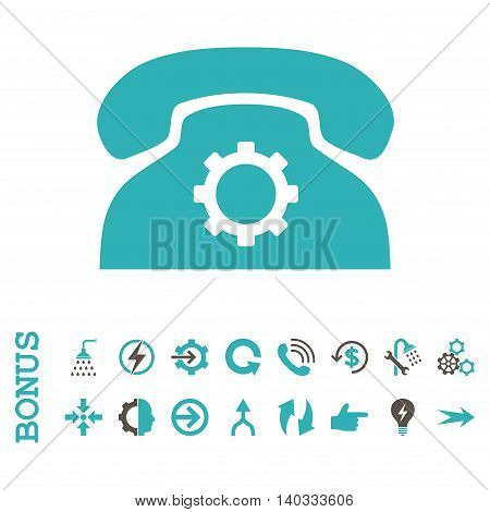 Phone Settings vector bicolor icon. Image style is a flat pictogram symbol, grey and cyan colors, white background.