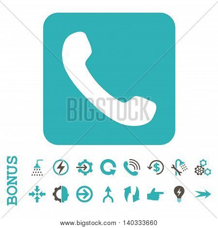 Phone vector bicolor icon. Image style is a flat iconic symbol, grey and cyan colors, white background.