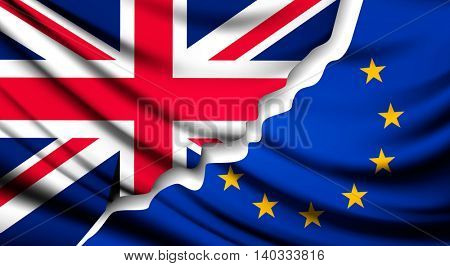 Two torn flags - EU and UK. Brexit concept. Vector.