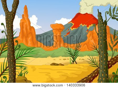 beauty forest cartoon with volcano landscape background