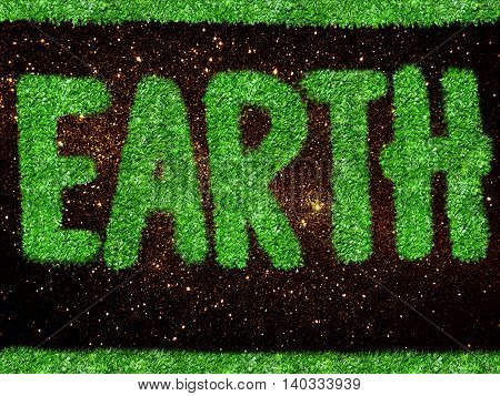 gold glitter and green grass texture background with word EARTH
