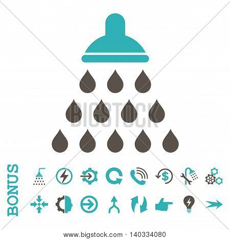 Shower vector bicolor icon. Image style is a flat pictogram symbol, grey and cyan colors, white background.