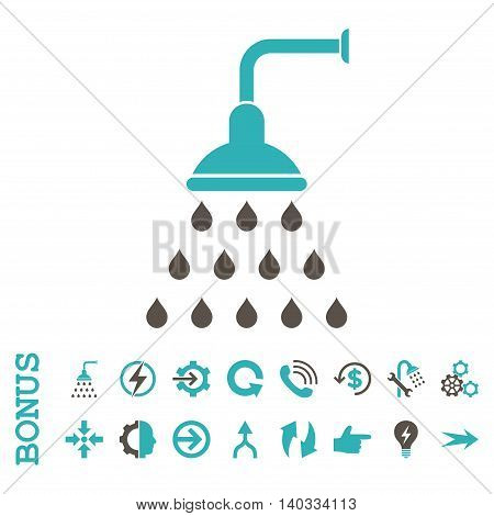 Shower vector bicolor icon. Image style is a flat iconic symbol, grey and cyan colors, white background.