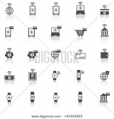 Fintech icons with reflect on white background, stock vector