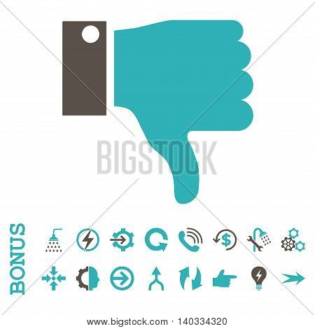 Thumb Down vector bicolor icon. Image style is a flat iconic symbol, grey and cyan colors, white background.
