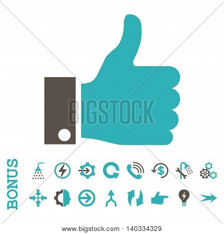 Thumb Up vector bicolor icon. Image style is a flat pictogram symbol, grey and cyan colors, white background.
