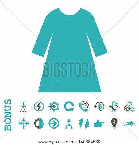 Woman Dress vector bicolor icon. Image style is a flat pictogram symbol, grey and cyan colors, white background.