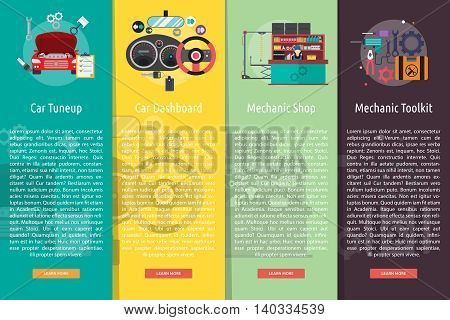 Mechanic and Car Repair Vertical Banner Concept | Set of great vertical banner flat design illustration concepts for mechanic, car repair, industrial, transport, business concept, and much more.