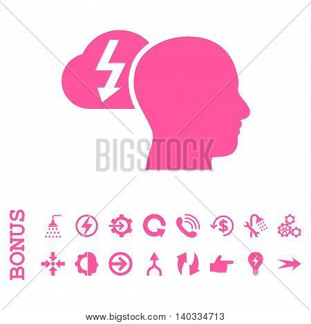 Brainstorming vector icon. Image style is a flat iconic symbol, pink color, white background.