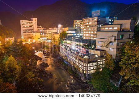 Jozankei, Japan hot springs resort town at night.
