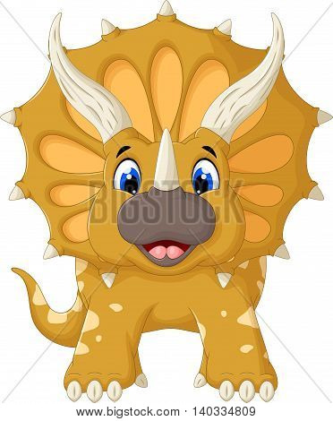 funny Triceratops cartoon posing look at camera