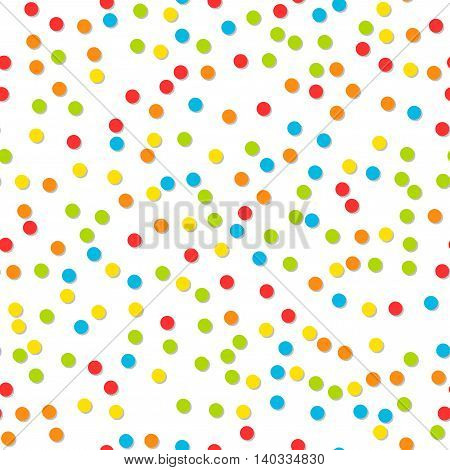 Seamless pattern of colorful confetti. Festive background. Vector illustration