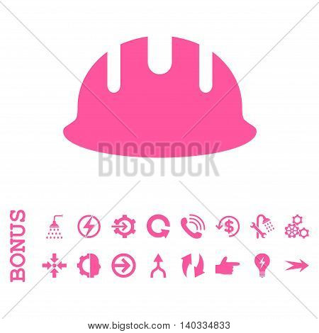 Builder Hardhat vector icon. Image style is a flat pictogram symbol, pink color, white background.
