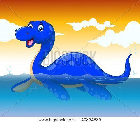 funny dinosaur cartoon swimming with sea life background