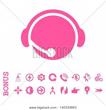 Call Center Operator vector icon. Image style is a flat iconic symbol, pink color, white background.