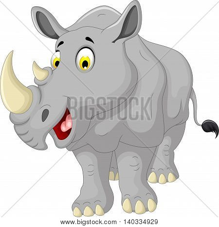 cute rhino cartoon smiling for you design