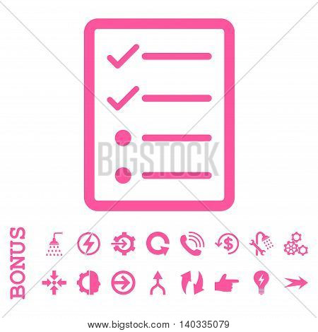 Checklist Page vector icon. Image style is a flat pictogram symbol, pink color, white background.