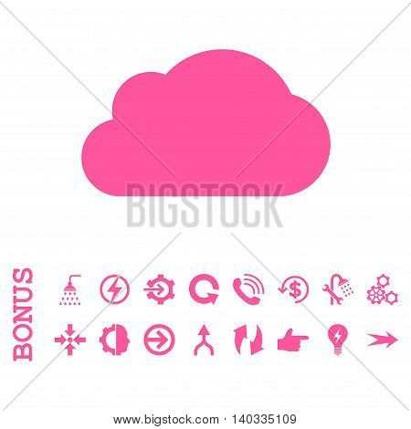 Cloud vector icon. Image style is a flat pictogram symbol, pink color, white background.