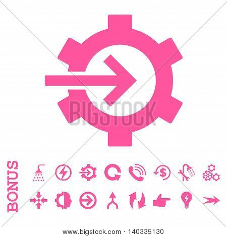 Cog Integration vector icon. Image style is a flat iconic symbol, pink color, white background.