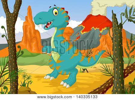 funny dinosaur cartoon in the jungle with forest landscape background